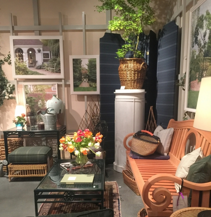 pink in Century Furniture garden showroom at High Point Furniture Market