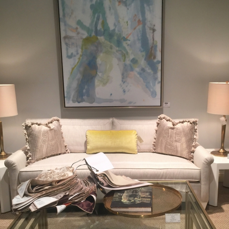blush pink sofa, pillows, and lampshades at Century Furniture showroom at High Point Furniture Market