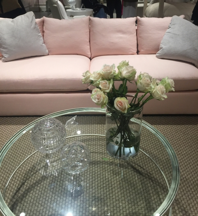 Highland House pink sofa in Crypton fabric at High Point Furniture Market
