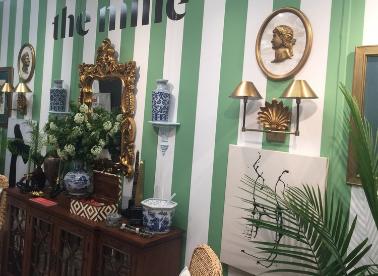 green and white cabana stripes in the mine showroom at High Point Market