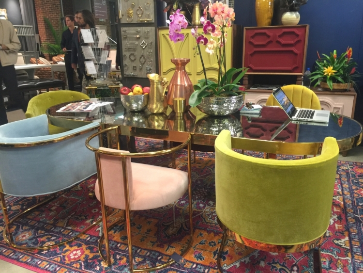 colorful mixed dining chairs with gold accents at ModShop showroom at 2018 High Point Furniture Market