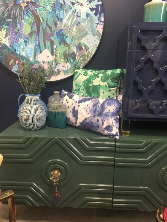 dark green console cabinet at modshop1 furniture showroom