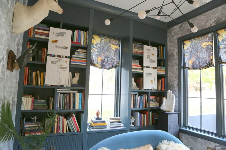 dark blue designer library by Kimberly Kelly at Omore Designer Showhouse