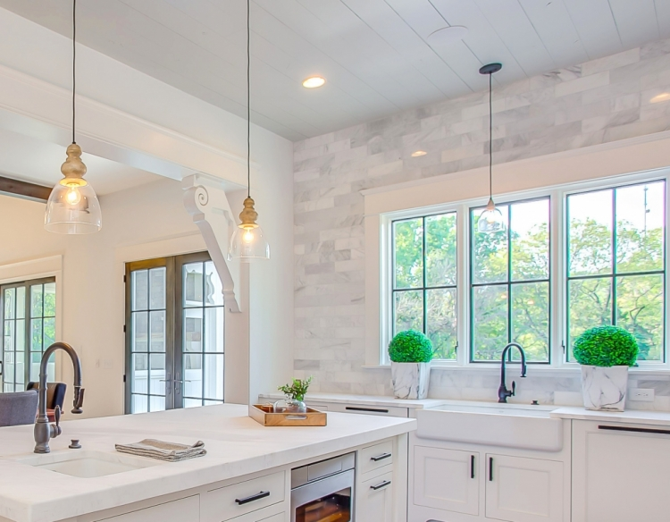 stonington gray ceiling in white kitchen with quartz countertops and marble tile backsplash wall