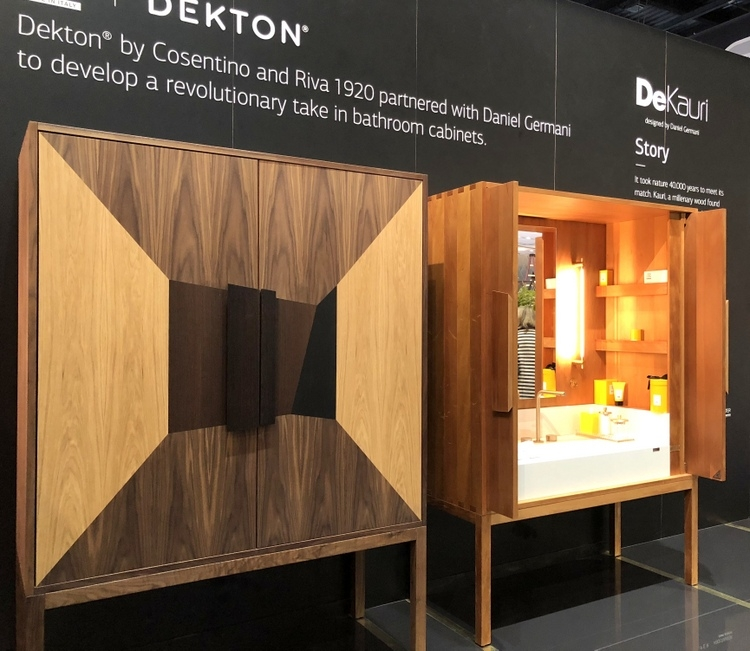 furniture like wood bathroom vanity cabinets that can be closed by Daniel Germani for Dekton by Cosentino at 2018