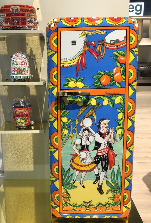 Dolce & Gabbana Smeg refrigerator featured at 2018 KBIS