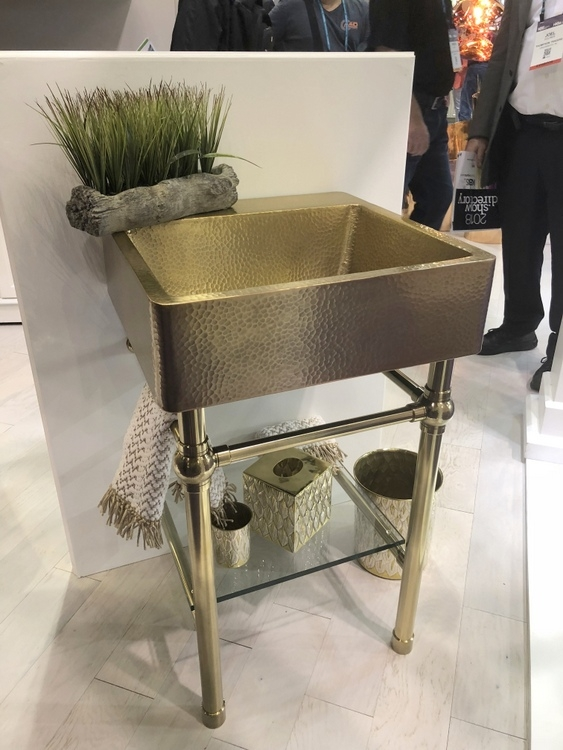 hammered gold sink vanity by thompson traders at 2018 KBIS
