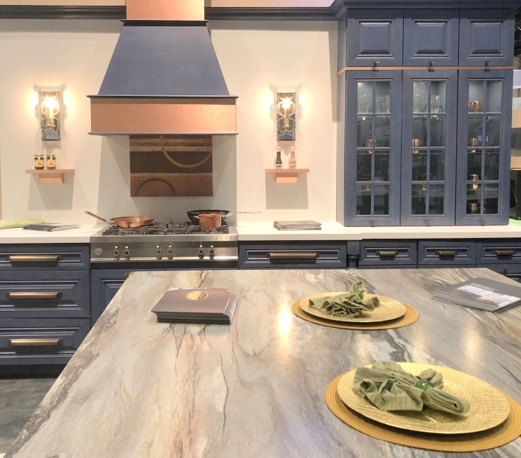 color for 2018 is dark blue kitchen cabinets at KBIS with copper accents