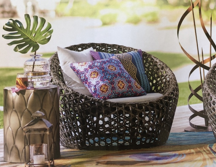 bamboo rattan chair with bohemian cushions