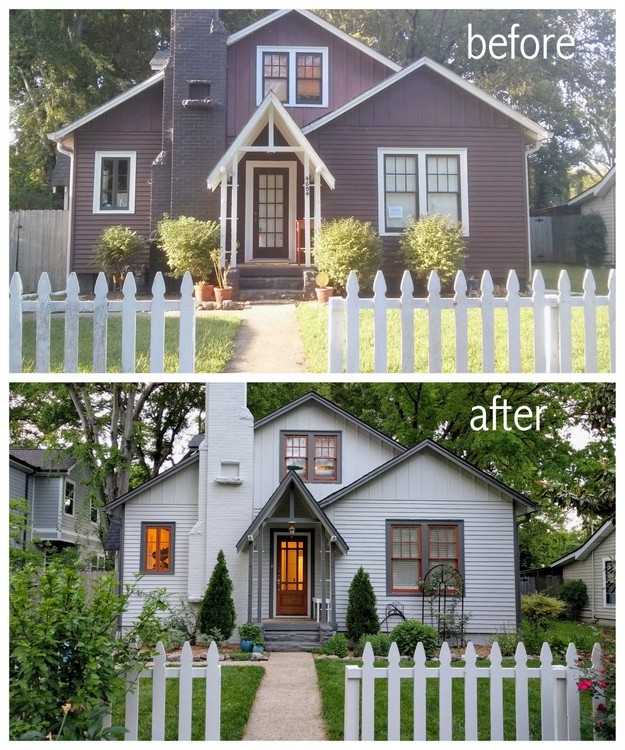 before and after exterior paint colors by the decorologist
