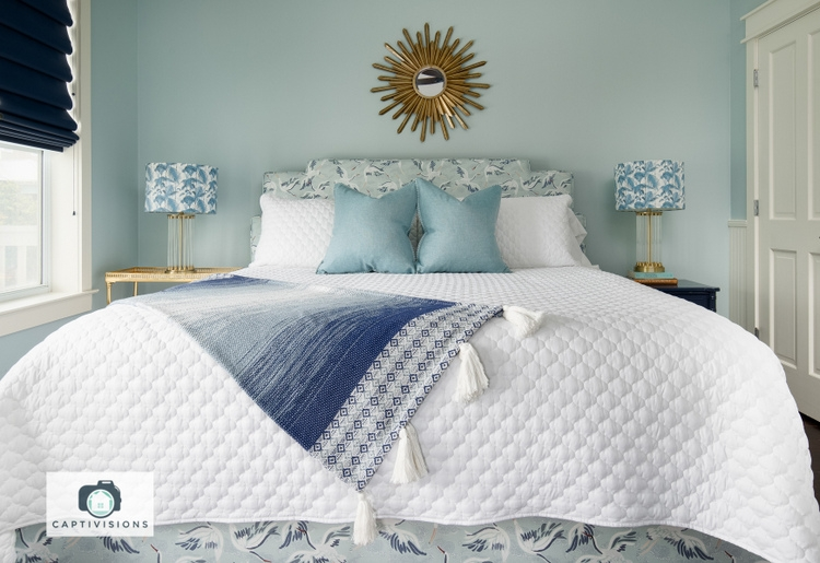oversized bedding and Sherwin-Williams Tradewind, design by Kristie Barnett, The Decorologist
