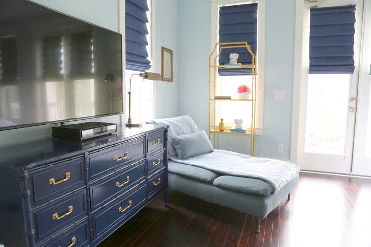 painted dresser in Sherwin-Williams Naval and blue IKEA chaise, design by Kristie Barnett