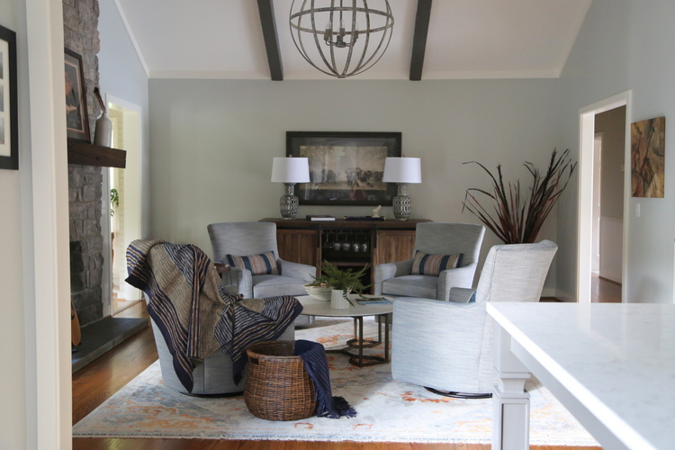 vaulted room design by Kristie Barnett, The Decorologist