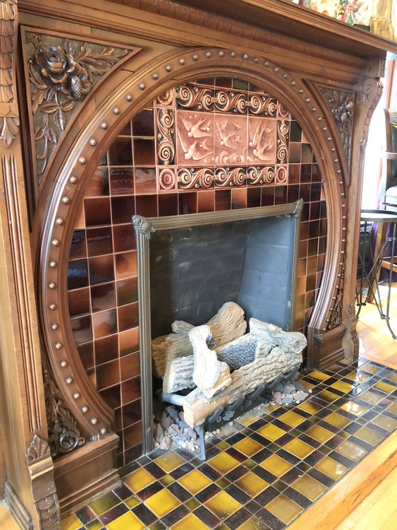 arts and crafts fireplace surround