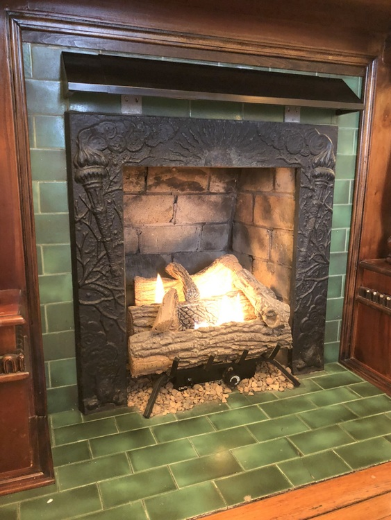 green glazed fireplace tile