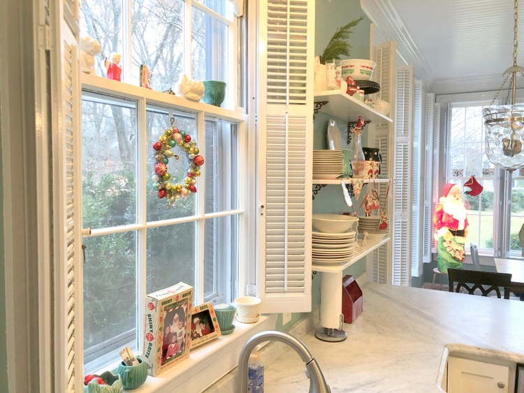 vintage Christmas decor in historic kitchen