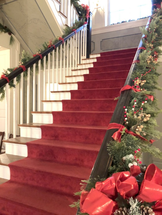 Rippavilla Mansion staircase with red runner