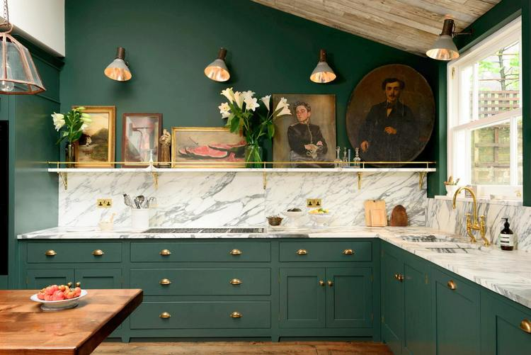 exciting green kitchens white cabinets | The 2019 Best Dark Greens for Kitchen Cabinets - The ...