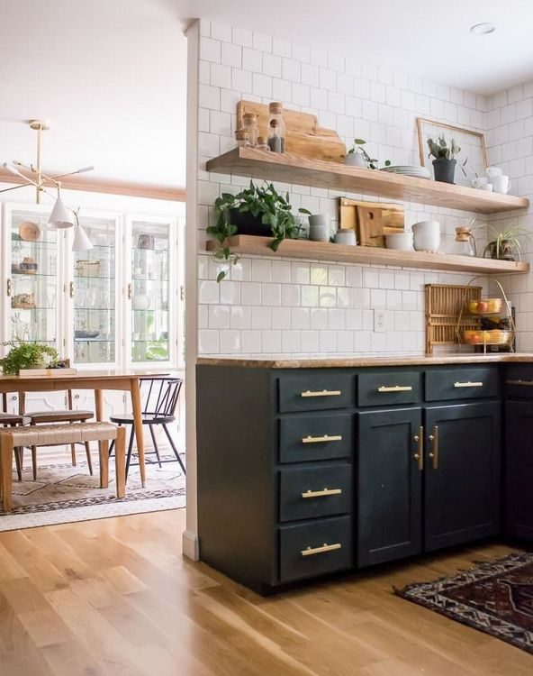 open wood shelving in kitchen