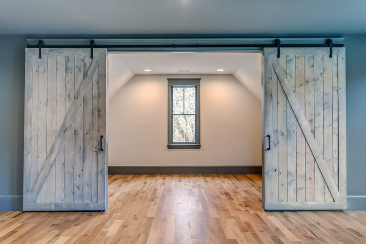 barn doors with dark walls