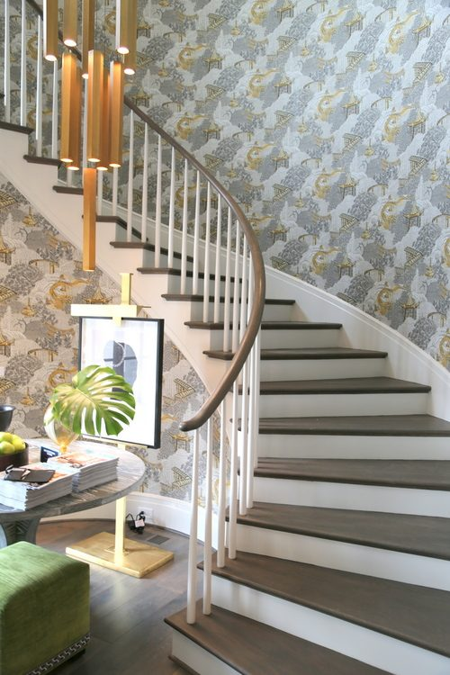 vern yip wallpaper in stairwell of House Beautiful Whole Home Concept House