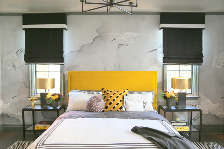 yellow gold upholstered headboard in Jackson Paige master bedroom at House Beautiful Whole Home Concept House