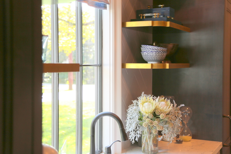 gold edge shelves in butler's pantry