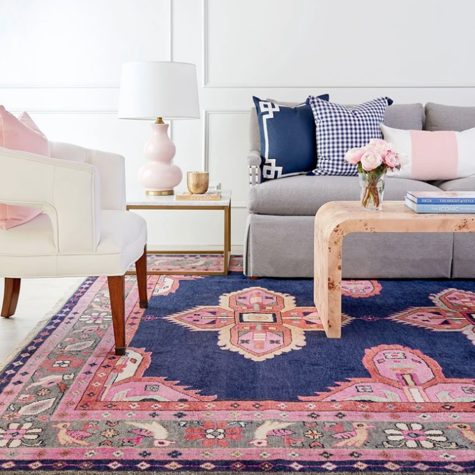 pink and navy rug by caitlin wilson