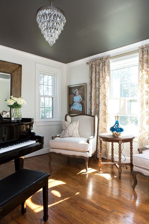 dark ceiling in music room by The Decorologist