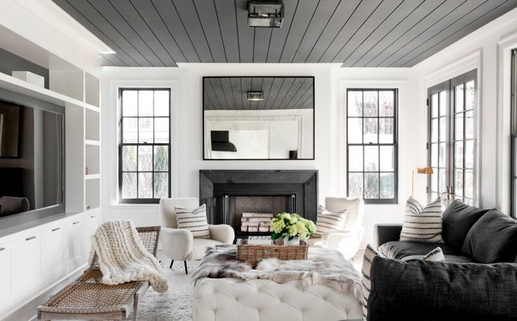 black ceiling in white room, painting the ceiling a different color by tamera magel