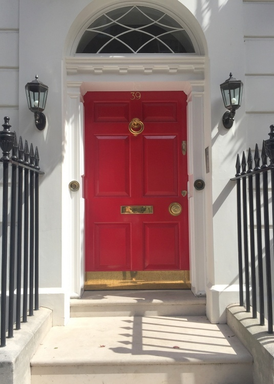 red front door in London