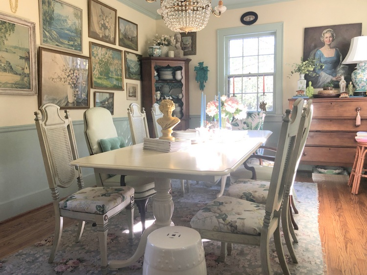 choosing difficult paint colors - yellow historic dining room by Kristie Barnett