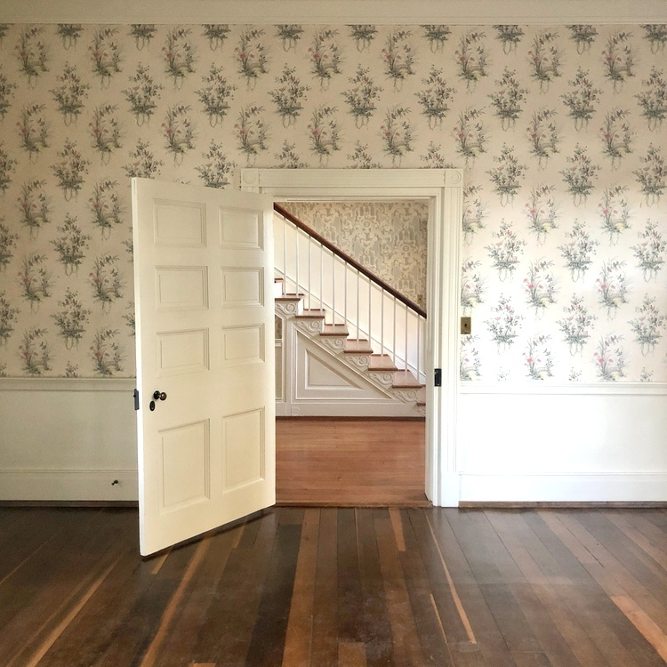 vintage wallpaper in federal style historic home