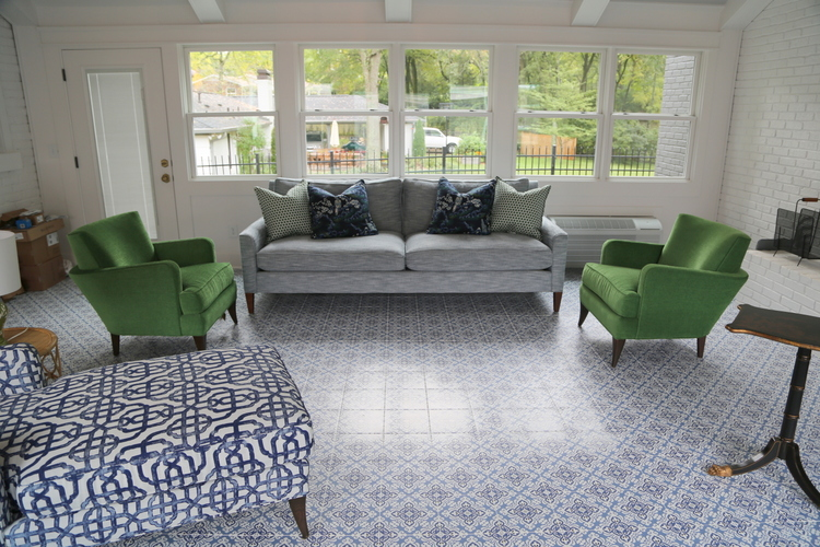 blue patterned encaustic tile flooring