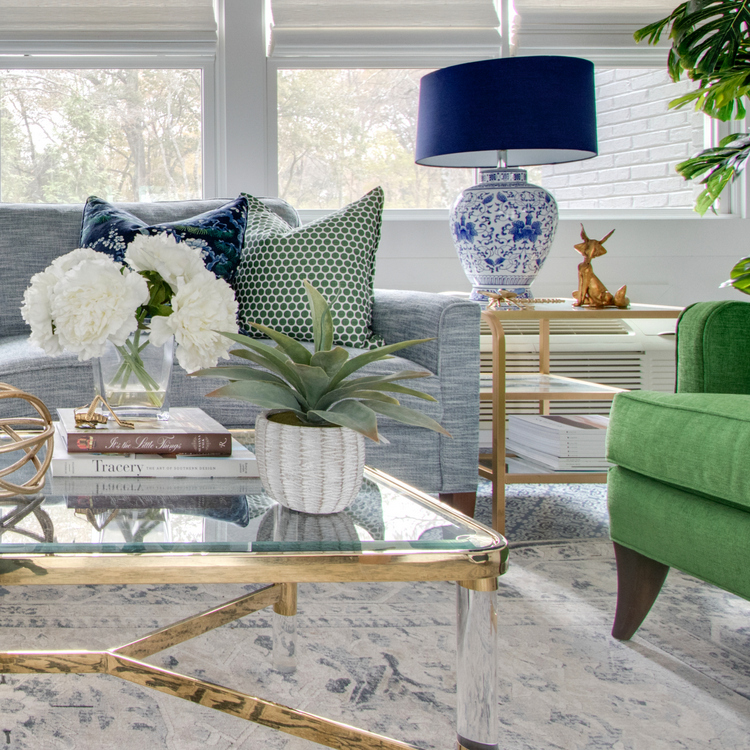 gold coffee table and chinoiserie lamp