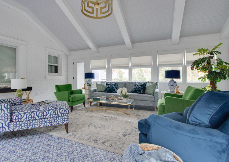 blue and green palm springs sunroom design by The Decorologist, Kristie Barnett