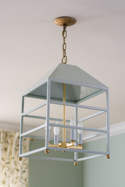 blue birdcage light fixture