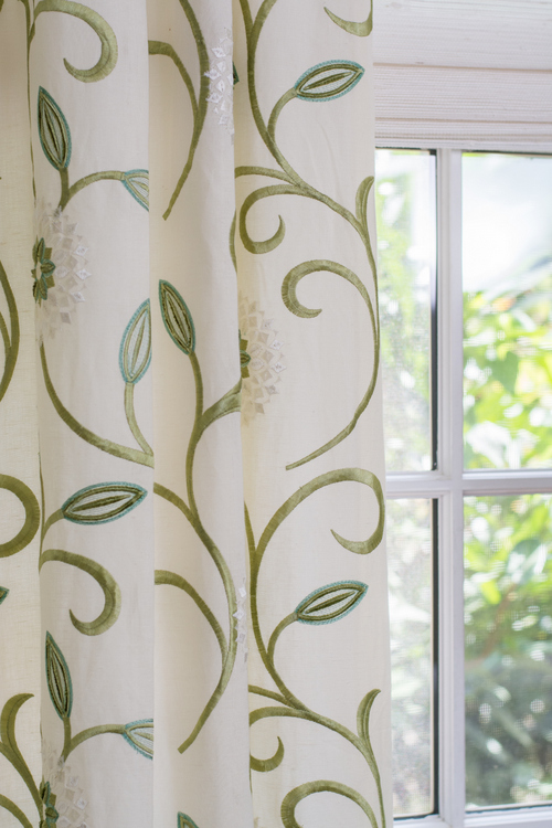 vine and floral drapery panels