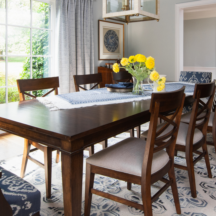 dark wood dining table with gray cashmere walls