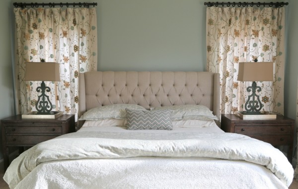 designer bedroom tufted headboard