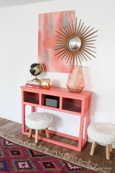 Sherwin-Williams-Coral-Reef-Painted-Console-Table-@Remodelaholic-005-533x800